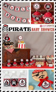 Red Pirate Baby Shower Package Personalized FULL by venspaperie, $35.00