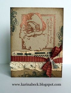 copper embossed stamp with music paper, ribbon & lace