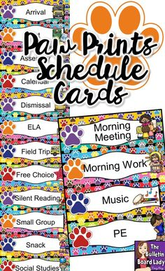 This EDITABLE paw print schedule cards can help you plan and organize your classroom daily!  Each item features a colorful paw print with a colorful paw print background. These printables would also work great at home!