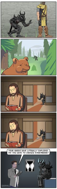 Sneaking in Skyrim. I do that all the time and sometimes I don't even realize it...