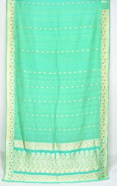 Zari Brocade Floral Pure Silk Green Vintage Indian Textile Fabric Saree Sari  TP1641 by EtKrafts on Etsy https://www.etsy.com/listing/208093279/zari-brocade-floral-pure-silk-green