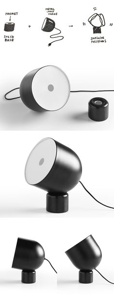 Composed of just two primary parts, Faro Lamp achieves an infinite number of positions thanks to a magnetic base and spherical lamp shade.