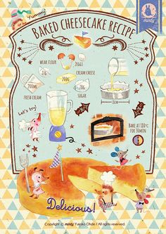 Baked cheesecake recipe - pixiv年鑑(β) Baked Cheesecake Recipe, No Bake Cheesecake, Recipe Drawing, Food Journal, Food Drawing, Kawaii Drawings, Illustrations And Posters, Cute Food, Cute Illustration