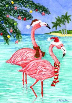 Christmas Card Flamingo