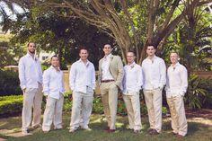 Casual groomsmen wedding attire captured by Tampa wedding photographer, Kimberly Photography.  Click here to see more! Casual Groomsmen, Rustic Wedding Attire, Lido Beach, Beach Ceremony, Groom Outfit, Khakis, Beach Club, Destination Wedding, Wedding Ideas