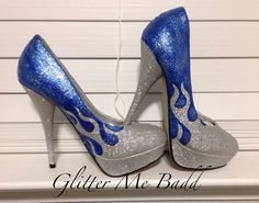Silver and Blue flames (any color available) by Glitter Me Badd