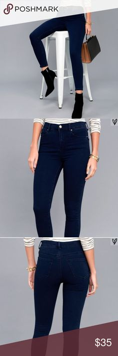 NWT! High Waisted trace denim Dark LuLu jeans High waisted cool dark wash LuLu's skinny jeans! Just purchased, but a bit snug on me so reselling here! Lulu's Jeans Skinny
