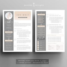 Resume Template and Cover Letter + References Template for Word ...