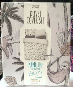 SLOTH PRIMARK DUVET COVER SET Bedding SIZE KING DOUBLE SINGLE PALMS TROPICAL