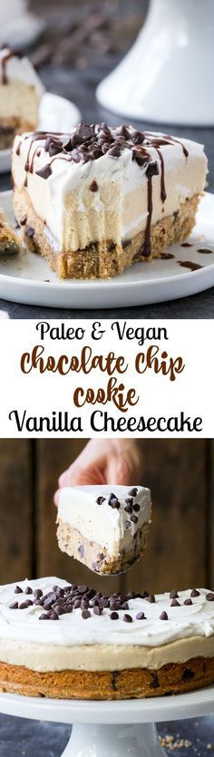 This chocolate chip cookie vanilla cheesecake starts with a thick chewy chocolate chip cookie layer topped with creamy cashew vanilla cheesecake coconut whipped cream more chocolate chips and a rich chocolate drizzle. Its the perfect secretly healthy Healthy Vegan Dessert, Coconut Dessert, Paleo Vegan, Oreo Dessert, Vegan Dessert Recipes, Vegan Treats, Vegan Foods, Gluten Free Desserts, Dairy Free Recipes