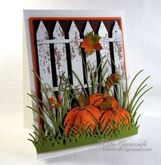 Weathered Fence and Fall Pumpkins by kittie747 - Cards and Paper Crafts at Splitcoaststampers