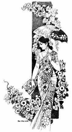 Ideas For Glasses Girl Illustration Sketch Art Drawings Sketches Simple, Pencil Art Drawings, Doodle Art Drawing, Tinta China, Indian Folk Art, India Art, Indian Art Paintings, Pop Art, Female Art