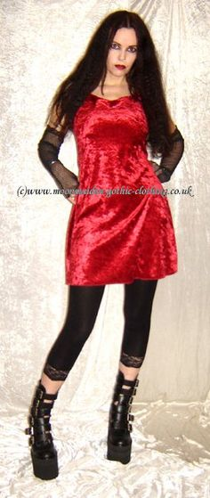 Velvet Mini Dress by Moonmaiden Gothic Clothing UK