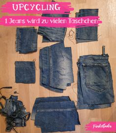 Sewing love plotter motif and jeans upcycling - Nähliebe-Plottermotiv und Jeans-Upcycling Jeans upcycling pencil case sewing with a sewing plotter Diy Jeans, Jean Diy, Altering Jeans, Diy Fashion, Fashion Outfits, How To Wear Ankle Boots, Sewing Aprons, Polka Dot Fabric, Green Fabric