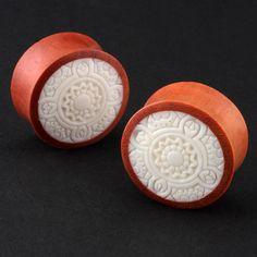 Organic Wood Bone Inlay Tribal Carved Ear Plugs Gauges   eBay