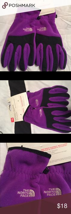 Girls Northface purple gloves!!! Girls Northface Denali gloves size large. NEW North Face Accessories Mittens