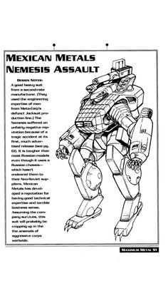 The Nemesis power armor from Cyberpunk 2020.