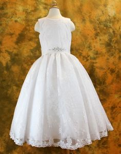 Catholic First Communion Dresses | First Communion Dress with Embroidered Lace Bodice & Skirt - White