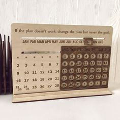 Desk Wood Eternal Calendar Accessories Decor Coworker Boss Teacher Gift Monthly Custom Desktop Calendar Standing Perpetual Office Calendar - Home Decor Office Calendar, Calendar Home, Desktop Calendar, Calendar Design, Wooden Calendar, Laser Cutter Projects, Design Poster, Wooden Desk, Wood Gifts