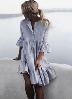 General Tunic Neutral Day Dresses Round Neckline Spring Summer Cotton A-line Dress S M Knee-Length L Sleeves XXL Ruffles Solid Dress Casual Dresses, Short Dresses, Summer Dresses, Ladies Dresses, Women's Dresses, Vintage Dresses, Comfy Dresses, Comfy Clothes, Trendy Dresses