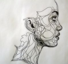 "Idea for Date Night/adult workshop.."" Show various samples of contour/One line drawing, by Kris Trappeniers"