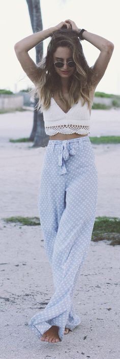 Reformation Baby Blue And White Polka Dot High Waist Palazzo Pants with short white knitted top