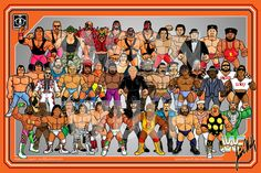 wwf hasbro style 1990 era wrestling roster poster with tugboat, andre the giant, hulk hogan, ultimate warrior and more