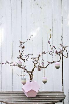 Купить Пасхальное дерево - бледно-розовый, серый, пасхальное дерево, яйца на пасху, пасхальный сувенир