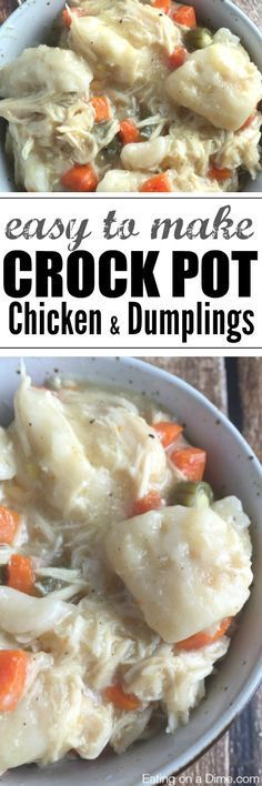 "You just have to make this Crock pot Chicken and Dumplings Recipe - we ""cheat"" and use canned biscuits to make this delicious dinner idea."