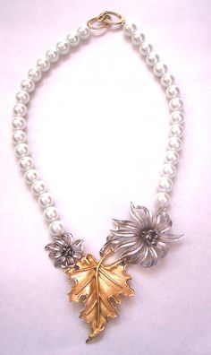 Vintage Crown Trifari Silver and Gold Tone Statement Necklace.