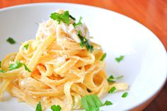 Fettuccine Alfredo with Thai Red Curry and Lump Crab Meat by Okie Dokie Artichokie
