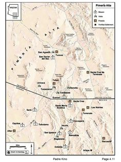 Pimeria Alta / Mission map but map shows boundaries that did not exist with the United States until after the Gadsden Purchase. Spanish Arizona had no such boundary.