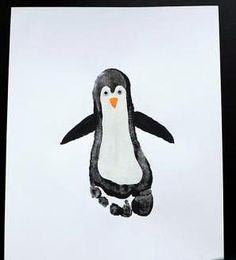 Dipingere con i piedi: pinguino