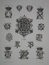 """Olympe monogrammes french 19th century engraving 12 x 17"""" $110"""
