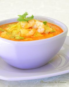 soupe épicée crevette (2) Curry Shrimp, My Cookbook, Exotic Food, Seafood Recipes, Thai Red Curry, Entrees, Tasty, Favorite Recipes, Meat
