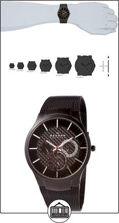 Skagen Slimeline Titan 809 XLTBB - Reloj de caballero de cuarzo (japonés), correa de titanio color negro  ✿ Relojes para hombre - (Gama media/alta) ✿