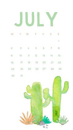 Watercolor July 2018 iPhone Calendar