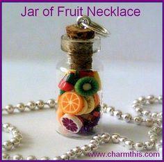 Jar of Fruit Bottle Necklace. via Etsy.
