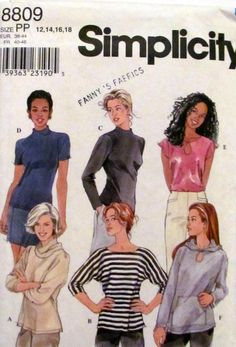 Simplicity 8809, Ladies Knit Tops Sewing Pattern, Sleeveless Top, Short Sleeve Tops, Hooded Tops, Ladies Sizes 12,14,16 and 18, Uncut by OnceUponAnHeirloom on Etsy