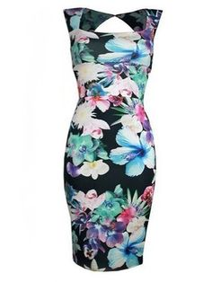 Charming  Square Neck  Flower  Printed Backless Bodycon-dress Bodycon Dresses from fashionmia.com