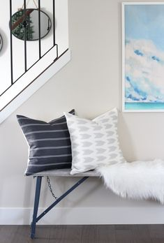 Bench Styling + Pillows from City Farmhouse and Co. : Looking for bench styling ideas? See how I created a welcoming entrance out of an awkward space using a rustic bench and new linen pillows from City Farmhouse and Co. Hallway Decorating, Entryway Decor, Decorating Your Home, Entryway Ideas, Decorating Tips, Foyer, Laundry Room Inspiration, Home Decor Inspiration, Decor Ideas