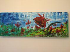 """""""Poppies Field"""", Acryl auf Leinwand (120x40), Linde Scheune"""