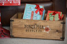 A personal favorite from my Etsy shop https://www.etsy.com/listing/256167289/north-pole-shipping-co-wood-crate