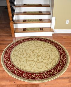 "Dean Premium Carpet Stair Treads - Tan Scrollworks - Plus a matching 5' 3"" Round Rug - Dean Stair Treads"