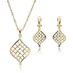 OUFO  Gold Plated Rhinestone Necklace Earring Fashion Jewelry sets