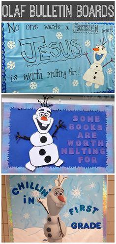 Frozen Olaf Bulletin Board Ideas for the Classroom - Christmas or winter scenes! | CraftyMorning.com