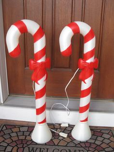 """candy cane Blow Mold collection   Set of 2 Union blow mold Candy Canes with bows-30"""" high - indoor ..."""
