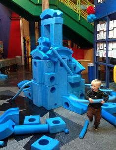 """website describes """"Children ages 2 and up use the blocks and their own creativity to transform any space — large or small, indoors or out — into a play space that encourages learning, social development, movement, and above all fun"""". Imaginationplayground.com"""