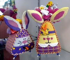 Pocket Full of Stitches: rabbit Easter needlepoint Standups