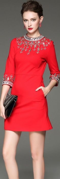 Red Beading Stand Collar Short Dress - 2017